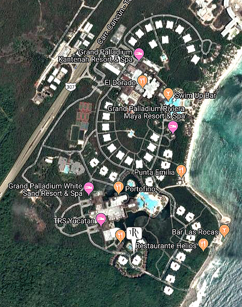 Palladium Group of hotels map